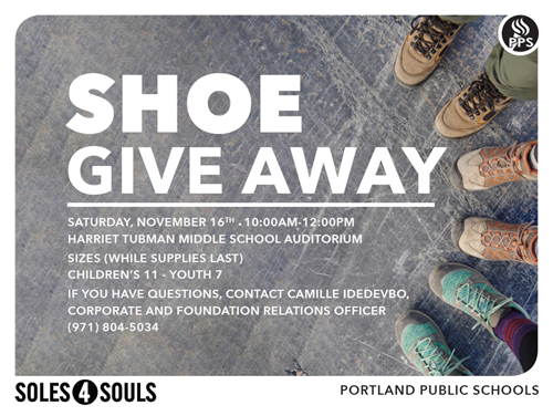 Shoe Give away on 11/16/19 10 am - Noon at the Harriet Tubman Middle School Auditorium