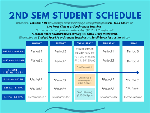2nd Semester Student Schedule