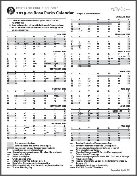 Pps 2020 Calendar Rosa Parks News   Detail Page