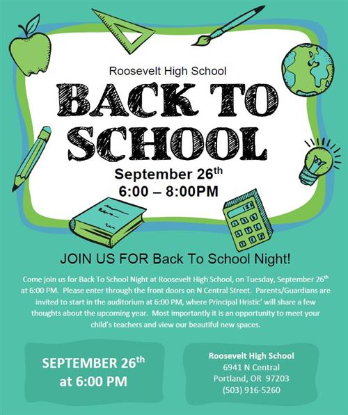 Back to School Night Sep 26