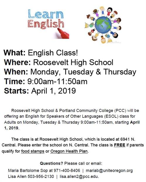 Free ESL Classes start Oct 2 at Roosevelt. Call 503-916-5260 x82330