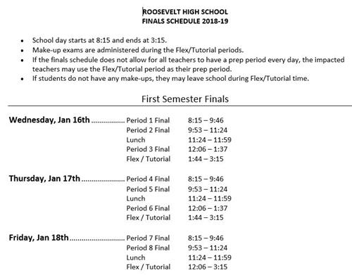Finals are Jan 16-18. Call RHS for more info.