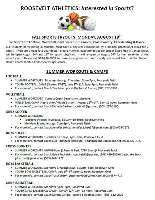 call (503) 988-3909 to get a health clinic appt for fall sports