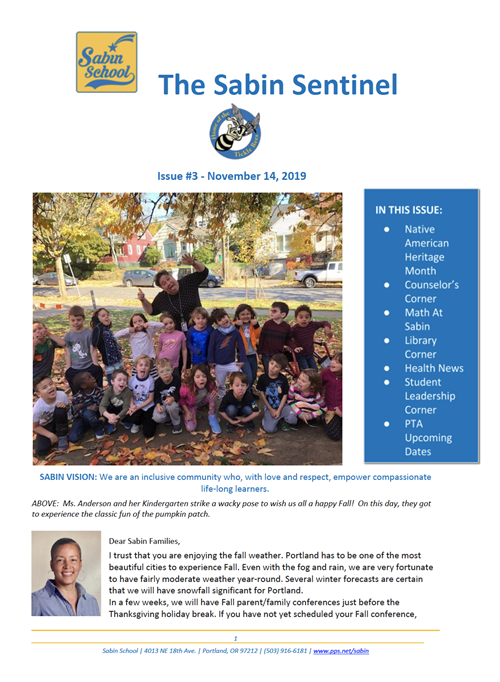 Cover page of November 2019 Newsletter. Picture of Ms. Anderson's Kindergarten students under a tree.