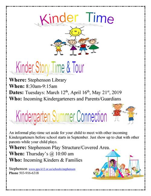 Kinder Story Time and  Summer Connection 2019