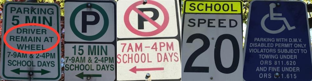 Parking Signage at Woodstock Elementary School