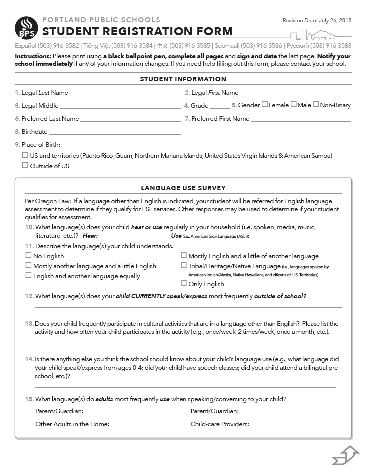 Enrollment transfer student registration form registration form 2018 thecheapjerseys Choice Image