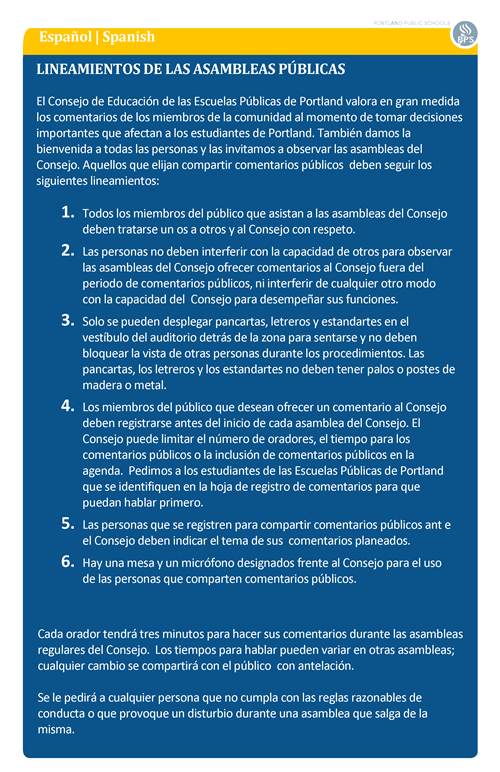 Spanish- Public Meeting Guidelines