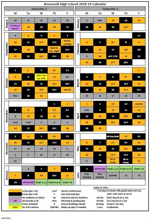 bell schedule and a b calendar daily schedule