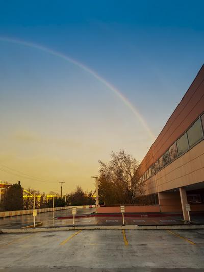 Rainbow over the PPS headquarters building.