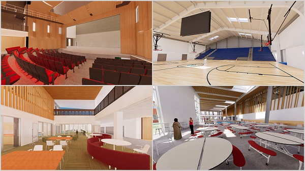 Collage of Madison High School renderings.