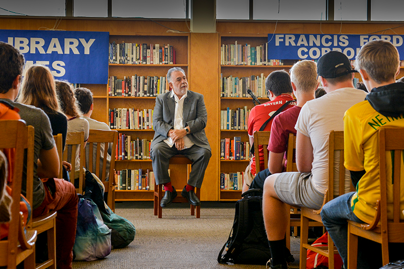 Francis Ford Coppola Seated Before A Room Full Of Students At Grant High School October