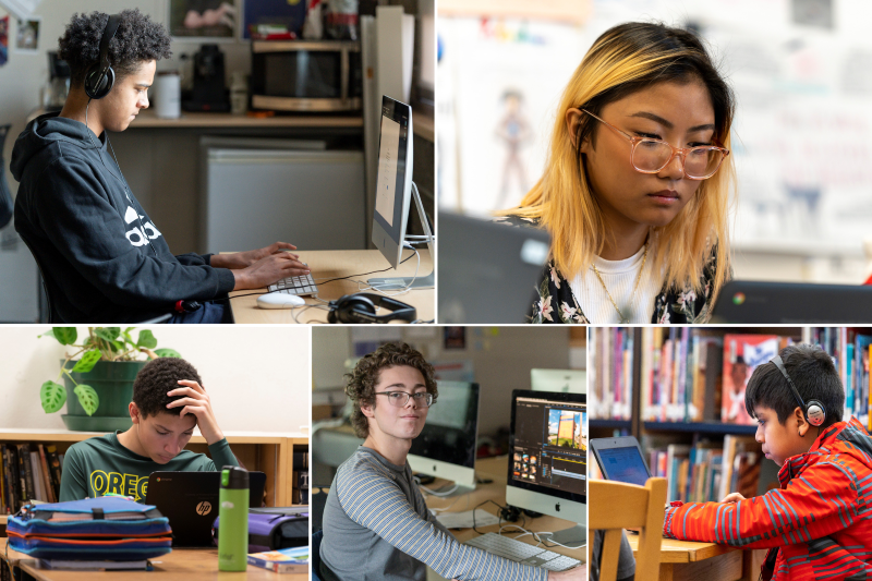 Collage of students on computers