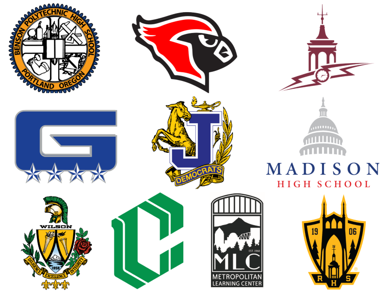 High school logos collage