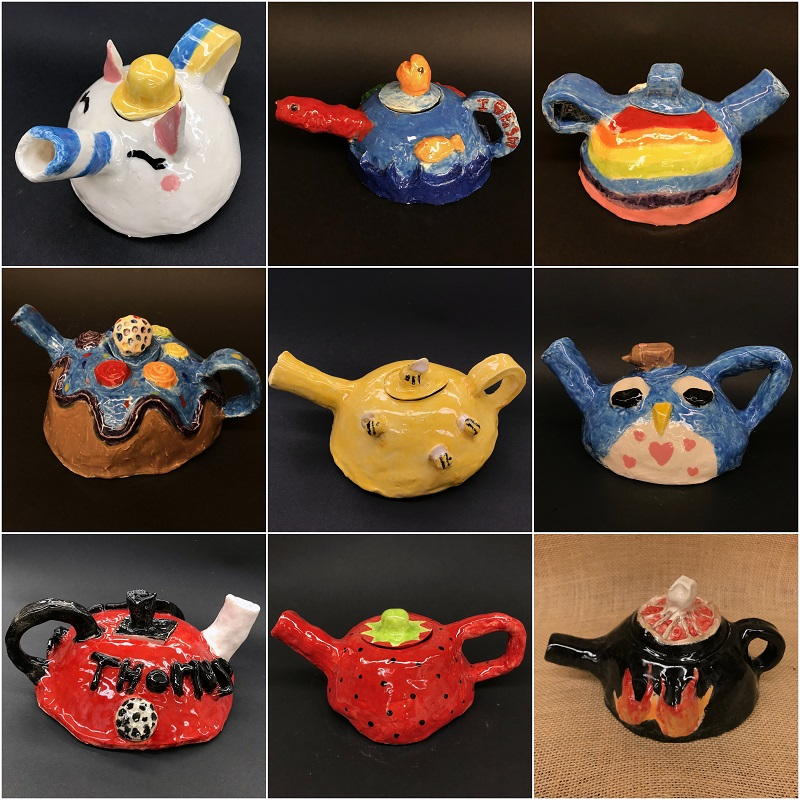 Samples of teapots by Rieke students