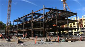 Steel frame of the first three floors of the new LHS building