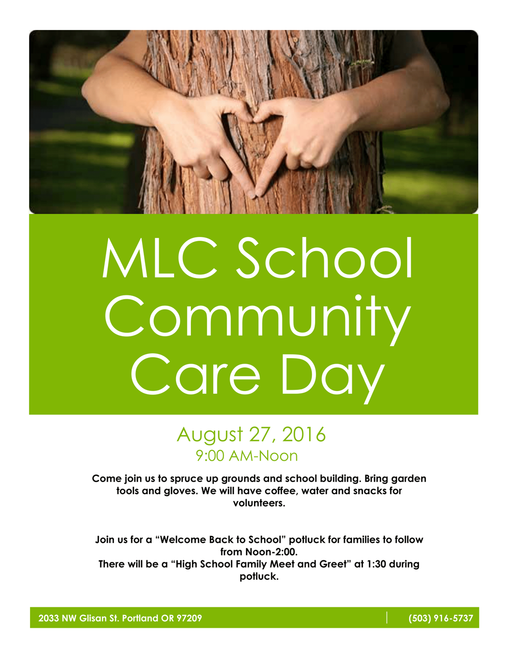 MLC School Community Care Day Flyer