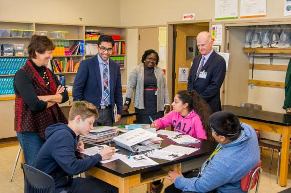 Interim Superintendent Bob McKean and board member Pam Knowles visited a class at Jason Lee School